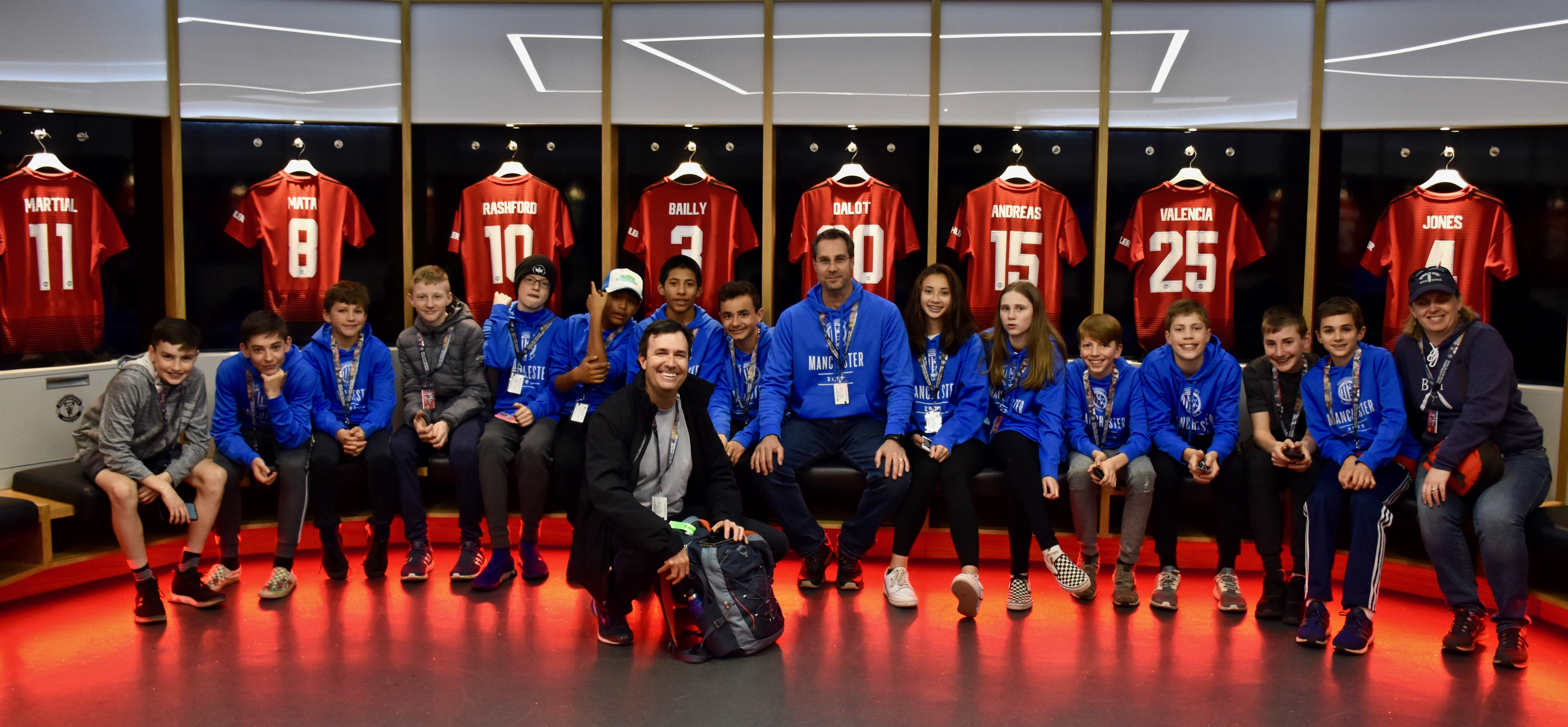 2019 players and chaperones visit the Manchester United locker room