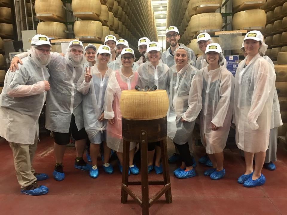 Cheese! Presidio Graduate students of Cooparative Management visiting the Parmesano Reggiano (yes, that parmesan cheese!) facility in Emilia Romagna.
