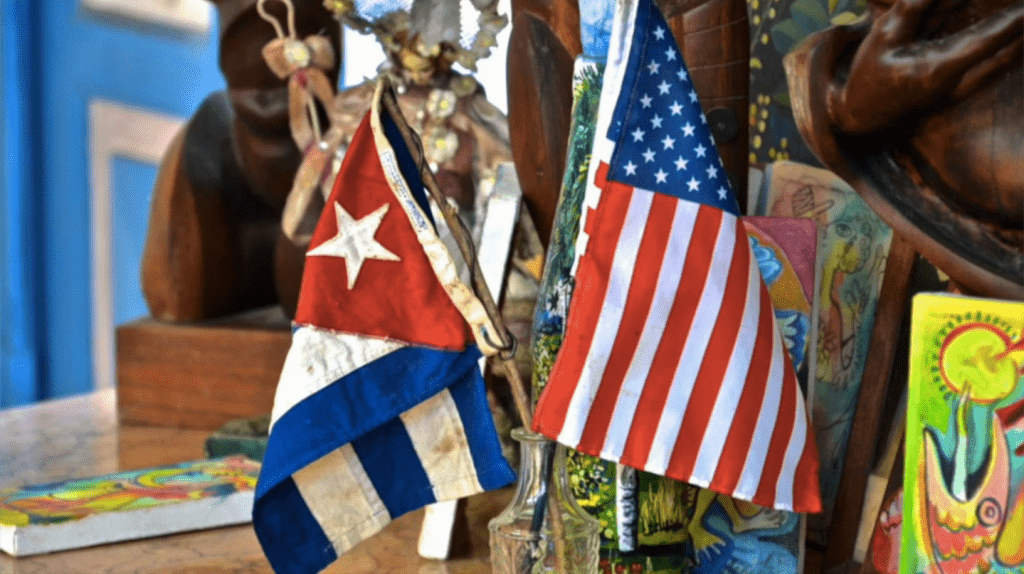 Cuba and US flags